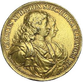 Karl XI.s giftermål 1680 med Ulrika Eleonora av Danmark av Anton Meybusch - MYCKET SÄLLSYNT - RR