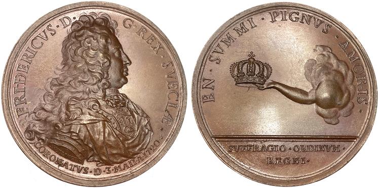 Fredrik I:s Kröning i Stockholm den 3 maj 1720 graverad av Hedlinger - Ocirkulerat toppexemplar