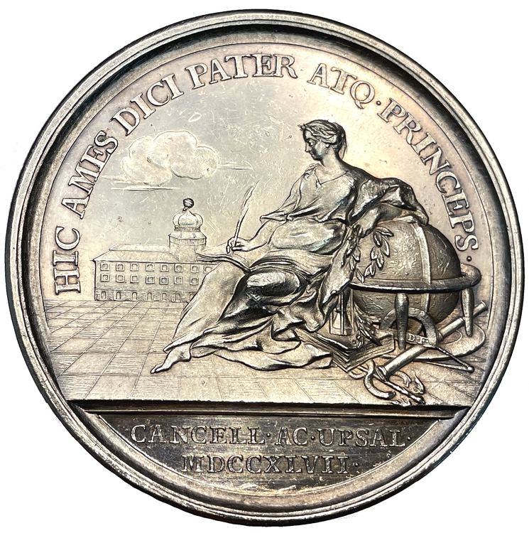 Adolf Fredrik blir kansler för Uppsala Universitet 1747 - Enda noterade exemplaret - EXTREMT RAR - RRR - Möjligen det enda tillgängliga exemplaret i privat ägo - av Georgii och Fehrman