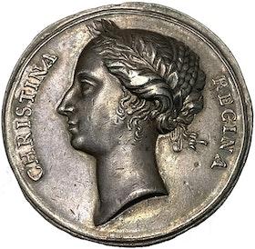 Kristina - Kastpenning till kröningen 1650 av Erich Parise - MYCKET VACKERT EXEMPLAR