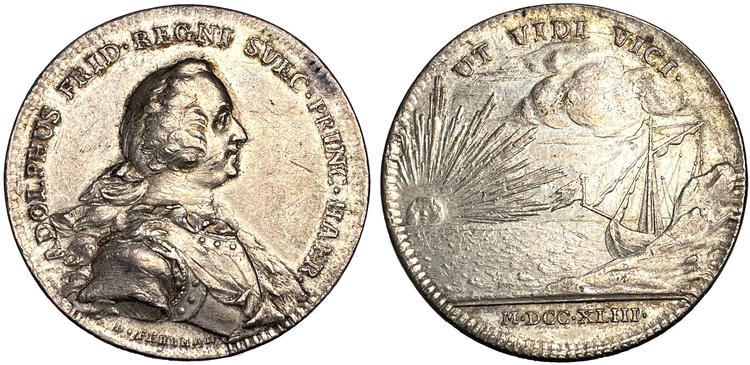 Tronföljaren Adolf Fredriks ankomst till Sverige 1743 av Daniel Fehrman - SÄLLSYNT