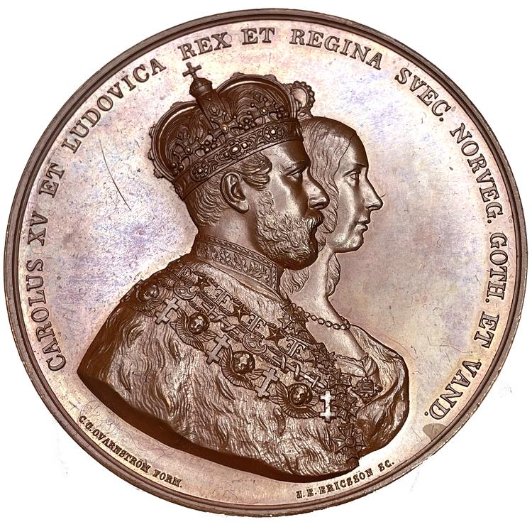 Sverige, Karl XV - Bronsmedalj - Kröningen 1860 - OCIRKULERAT TOPPEXEMPLAR