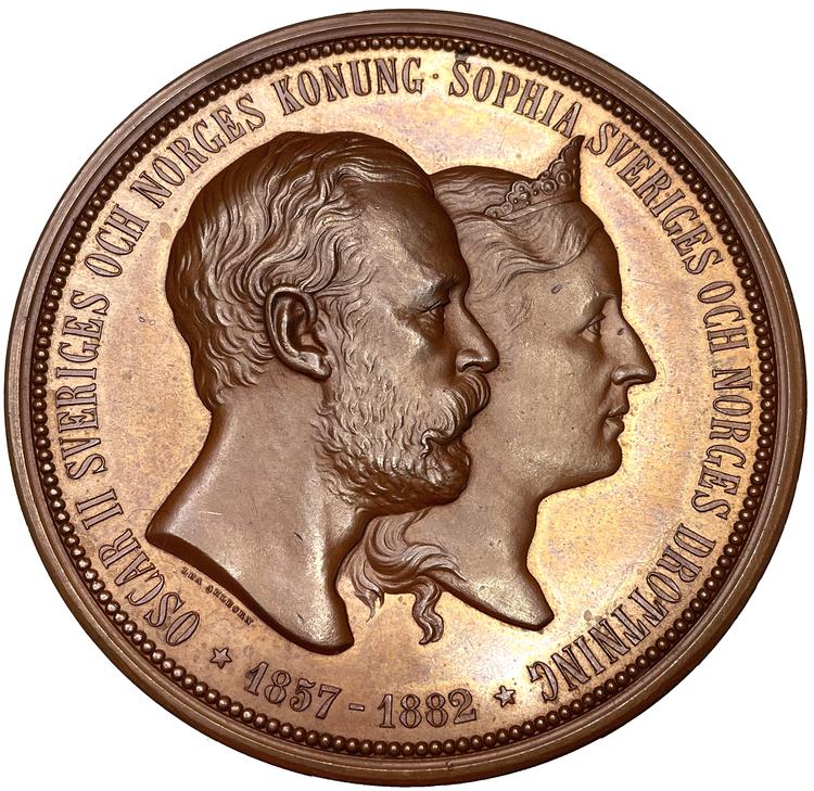 Sverige, Oskar II, Silverbröllopet 1857-1882 - MASSIV PRAKTMEDALJ