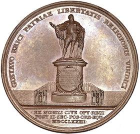 Gustav III - Gustav Vasas bildstod avtäcks 1774 av Ljungberger - MYCKET SÄLLSYNT - RR