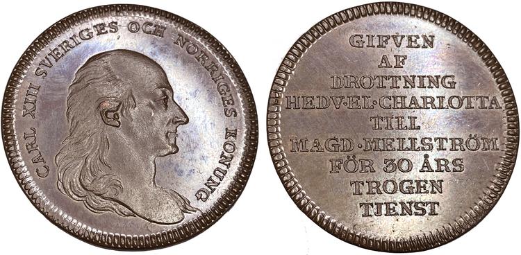 Karl XIII - Till tjänare vid hovet för lång och trogen tjänst -PRAKTEXEMPLAR - MYCKET RAR HYBRIDPRÄGLING - RRR