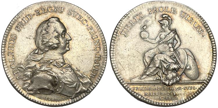 Adolf Fredrik - kronprins Fredrik Adolfs födelse 1750 av Daniel Fehrman