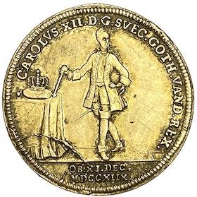 Konungen Karl XII:s död under belägringen av Fredriksstens fästning vid Fredrikshall i Norge den 30 november 1718
