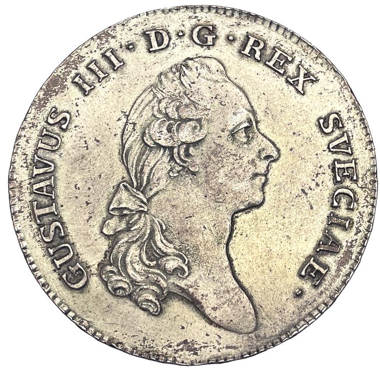 Gustav III, Riksdaler 1782 - Ett skarp och välpräglat exemplar med fin lyster