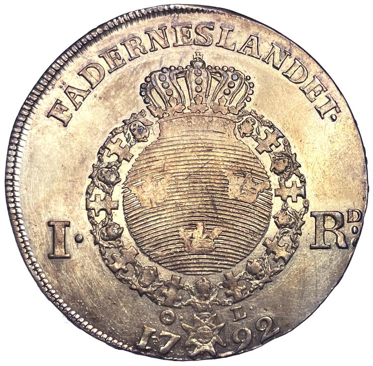 Gustav III, Riksdaler 1792 - året då kungen mördades - Vackert skarpt exemplar med fin lyster