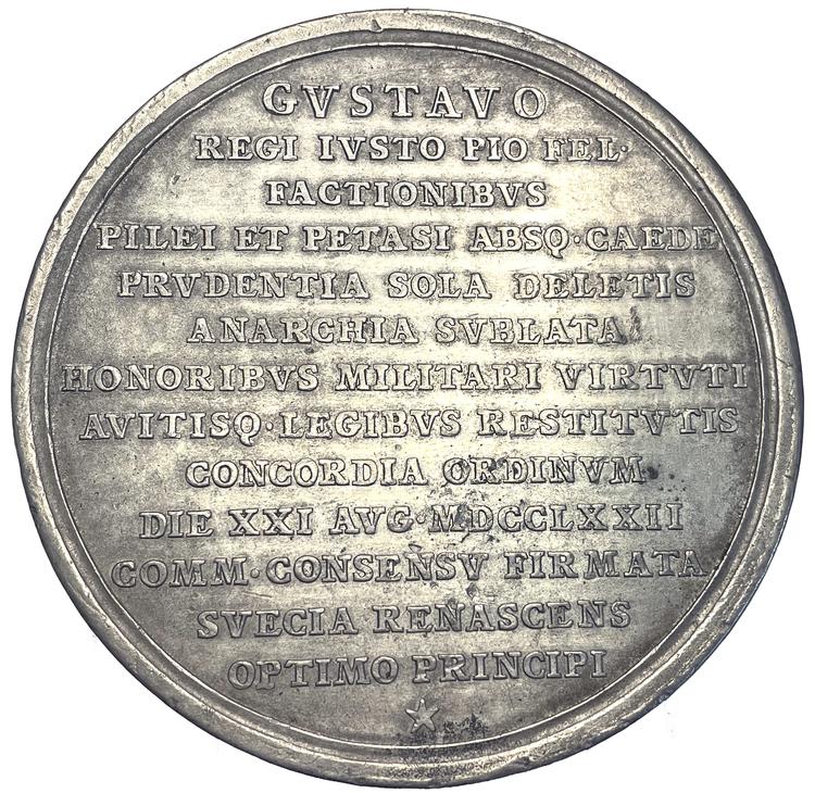 Gustav III - Statskuppen och nya regeringsformen 1772 av Schwendimann - MYCKET SÄLLSYNT - RR