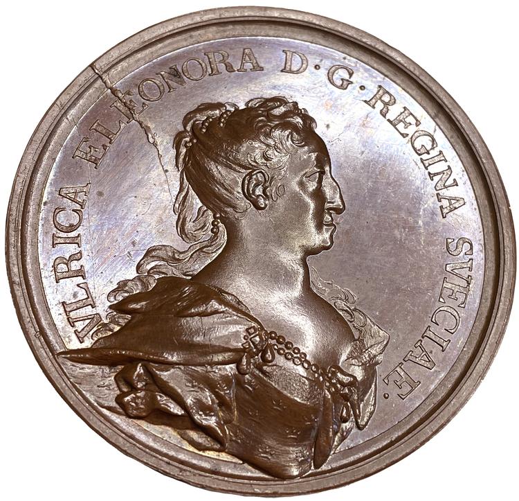 Ulrika Eleonoras kröning 1719 - Extremt sällsynt hybrid med drottningens död och begravning 1742 - Av Hedlinger - Ett ocirkulerat toppexemplar och RRR