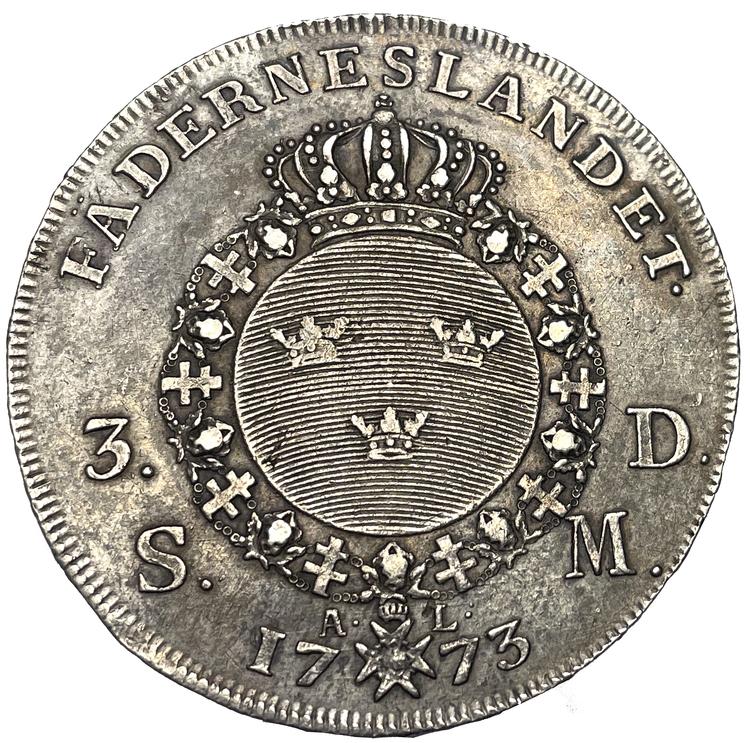 Gustav III, 3 Daler Silvermynt 1773 med 1772-års bild - Sällsynt