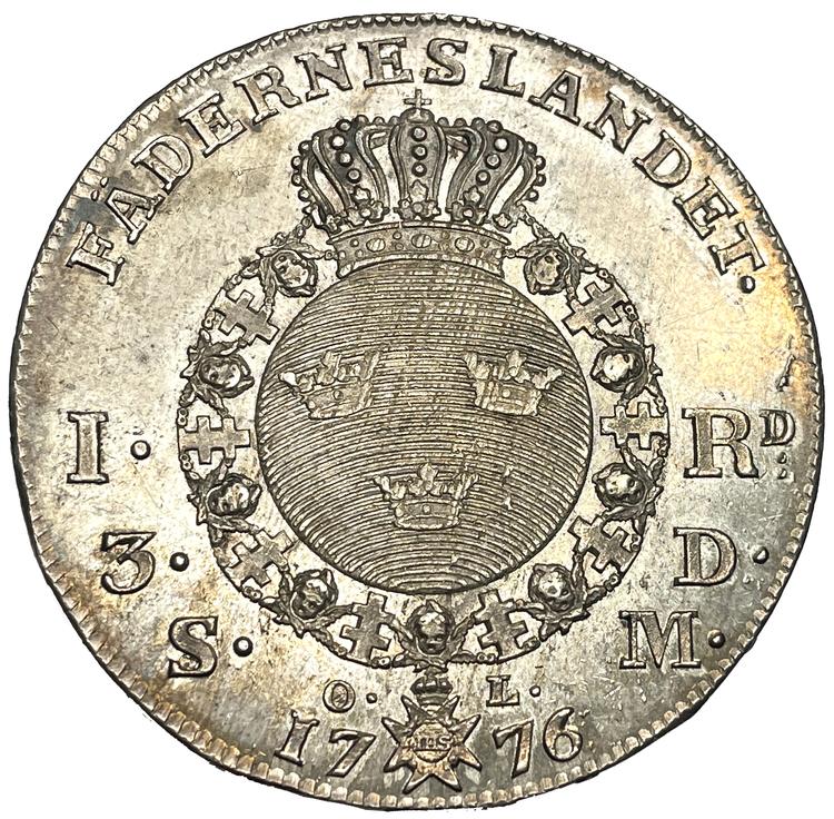 Gustav III, Riksdaler 1776 - Ocirkulerat toppexemplar