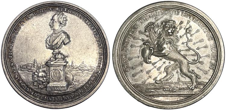 Karl XII:s död under belägringen av Fredriksstens fästning vid Fredrikshall i Norge den 30 november 1718 och begravning i Riddarholmskyrkan i Stockholm den 26 februari 1719 av Wermuth - SÄLLSYNT