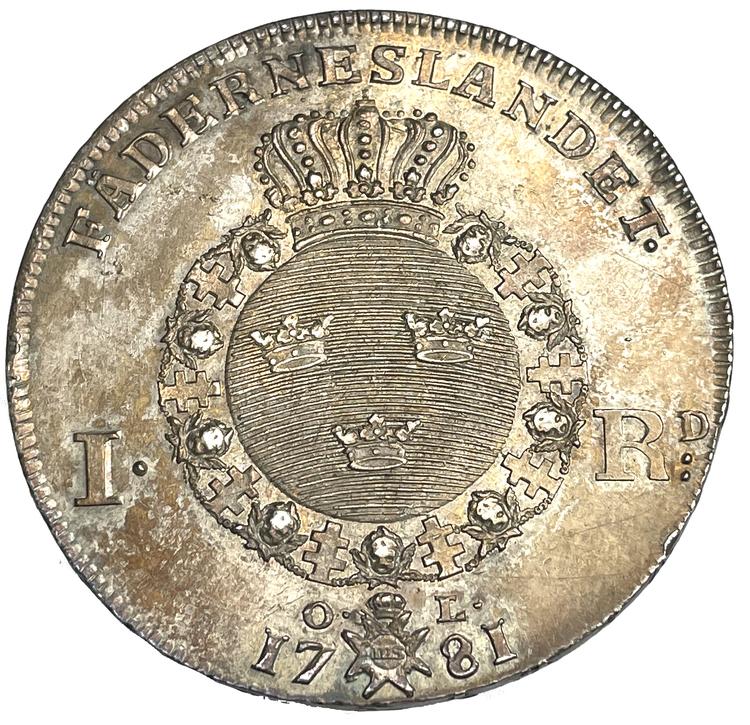 Gustav III - Riksdaler 1781 med 1775-års bild - FULLT UTPRÄGLAD