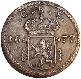 Karl XI - 1 Öre SM 1677 - Skarpt och tilltalande exemplar