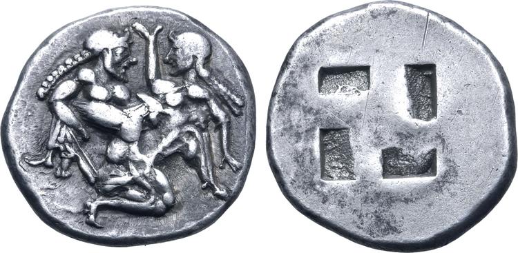 Trakien, Thasos, Stater ca 500-480 f.Kr - Naken satyr med ergegerad penis rövar bort nymf lättklädd nymf med svällande bröst