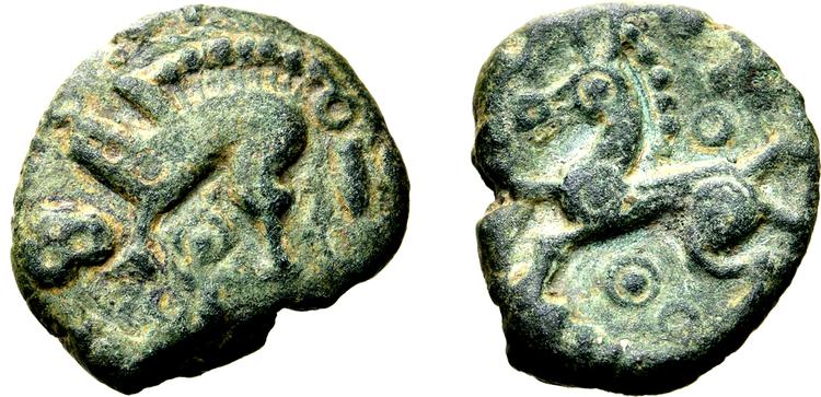 Norra Gallien, Ambiani  ca 60 - 30/25 f.Kr Brons 13mm - MYCKET SÄLLSYNT