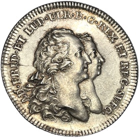 Adolf Fredrik och Lovisa Ulrika - Gustav (III) förklaras myndig 1762 av Daniel Fehrman - PRAKTEXEMPLAR - Ex. Bonde