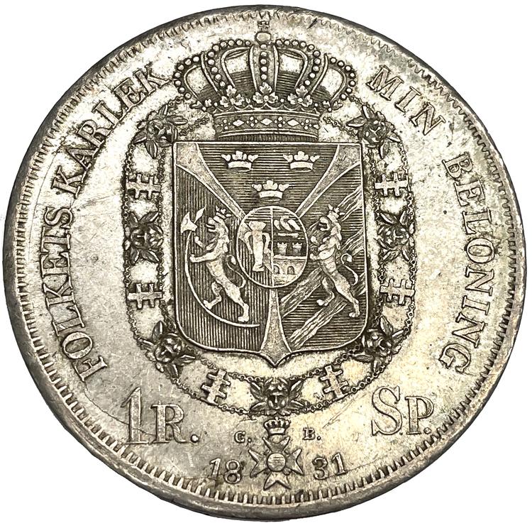 Karl XIV Johan Riksdaler Specie 1831 - Mycket vackert exemplar