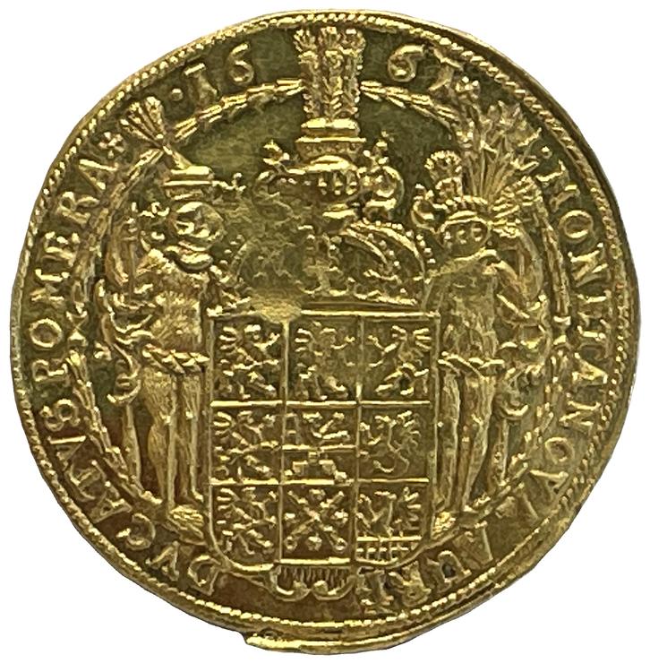 Karl XI - 2 Dukater 1661 - Det bästa kända exemplaret med djupt glänsande fält och frostad relief