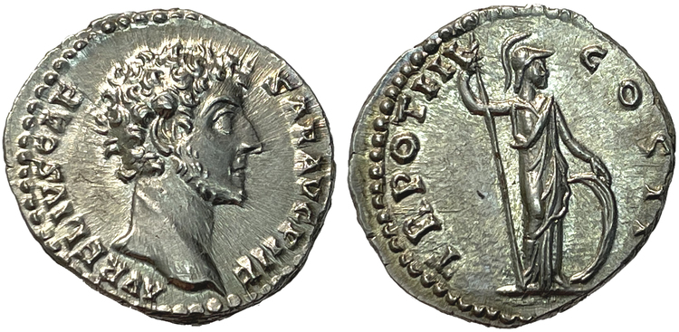 Markus Aurelius som Caesar - Denar - PRAKTEXEMPLAR
