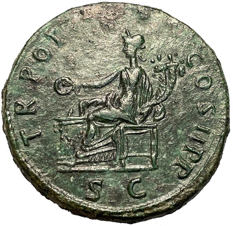 Trajanus 98-117 e.Kr, Sestertie - Praktfullt toppexemplar med full detaljrikedom bevarad