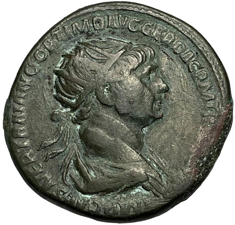 Trajanus 98-117, Dupondius Rom - Tilltalande porträtt