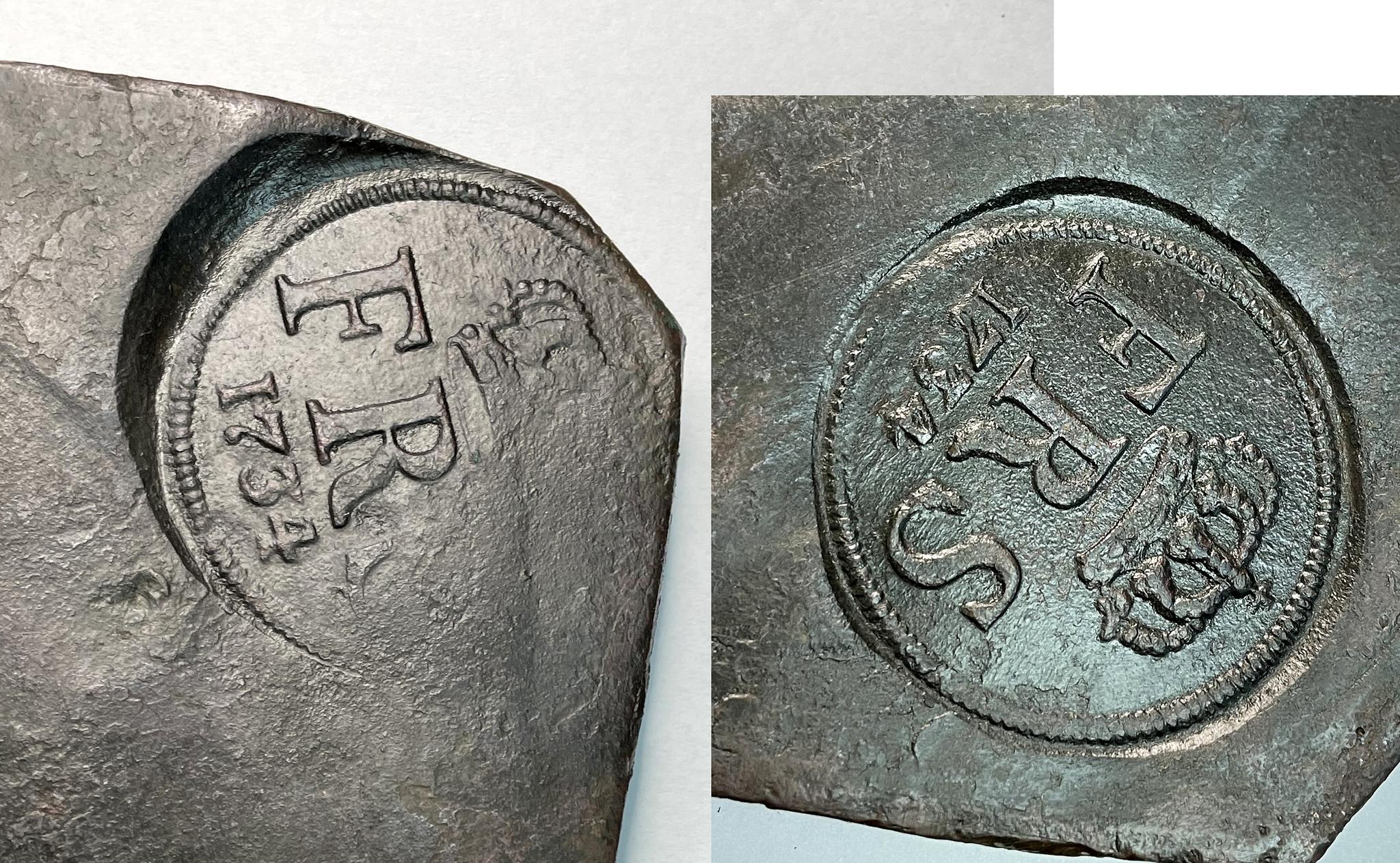 Fredrik, plåtmynt - 4 Daler SIlvermynt 1734