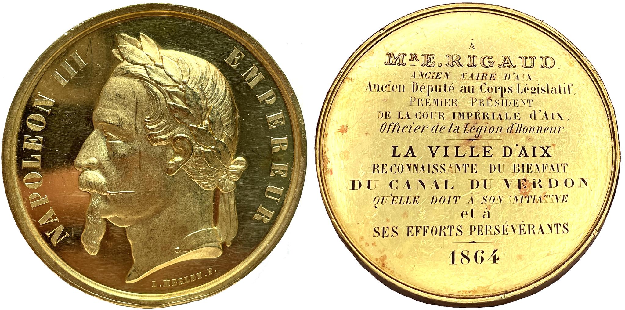 Frankrike, Napoleon III - Stor guldmedalj tilldelad borgmästaren i Aix 1864 av Merley - RRR