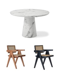 Concept Dining Table round 120cm & 4 Office Chairs