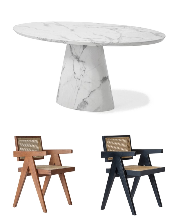 Concept Dining Table oval 200cm & 6 Office Chairs