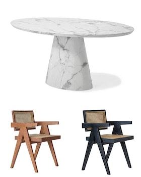 Concept Matbord ovalt 200cm & 6st Valerie office chairs