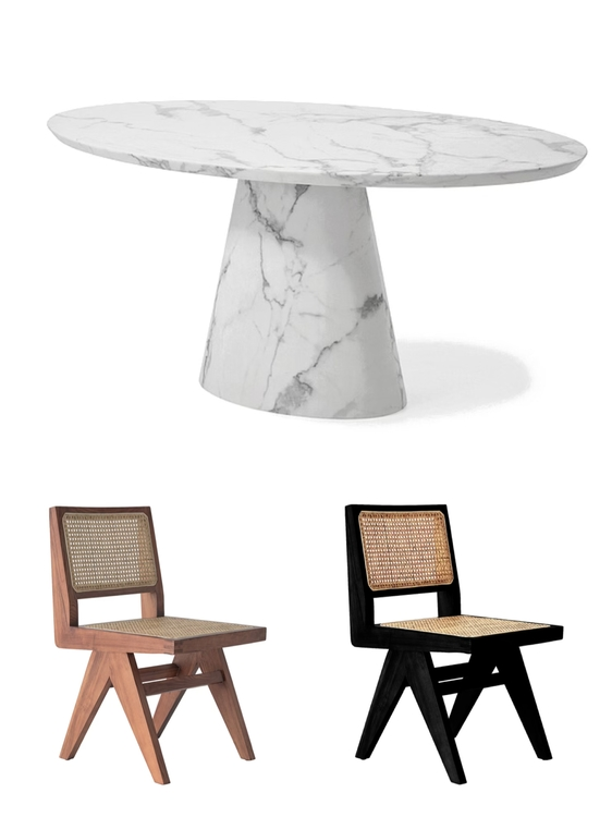 Concept Dining Table oval 200cm & 6 Armless dining chairs