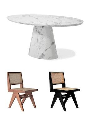 Concept Matbord ovalt 200cm & 6st Armless dining chairs