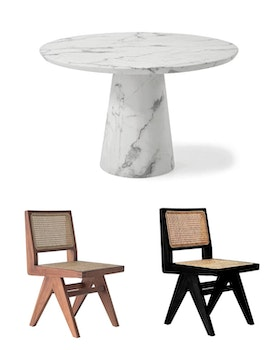Concept Dining Table round 120cm & 4 Armless dining chairs