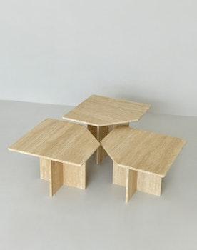 Nicole Side/Coffee Table, set of 3 Travertine