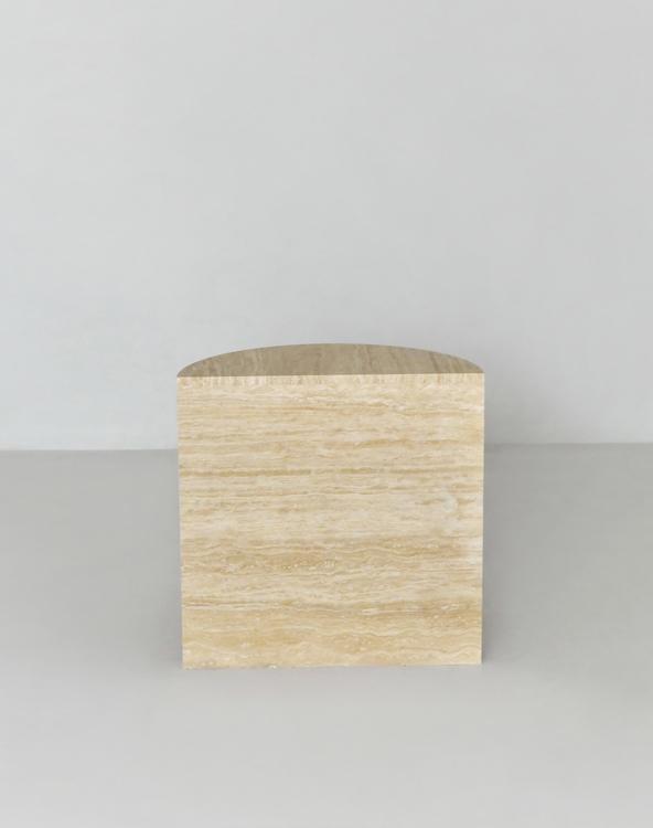Elisa Half Moon Side Table Travertine