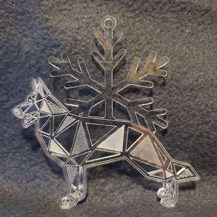 Julgranspynt av akryl med hund ocj katt