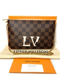 Louis Vuitton Double Zip Pochette Damier Ebene Canvas