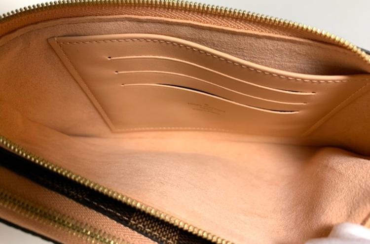 Louis Vuitton Double Zip Pochette Damier Ebene Canvas