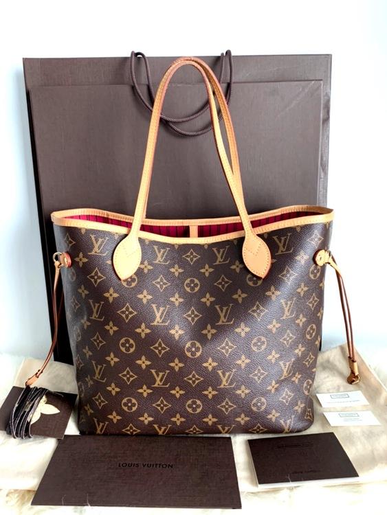 Louis Vuitton Neverfull MM Monogram Pivoine Canvas Bag