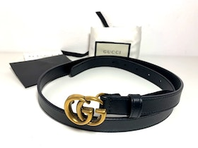 Gucci leather belt double G buckle