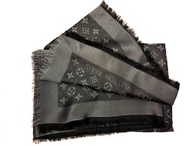 Louis Vuitton monogram shine shawl in black/ silver.