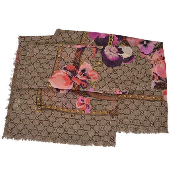 GUCCI Oshibana Flowers Scarf Brown/Pink