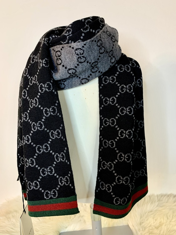 GUCCI Wool Black Reversible GG Guccissima Red Green Stripe Scarf