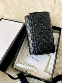 Gucci Black Sima Leather Key Case