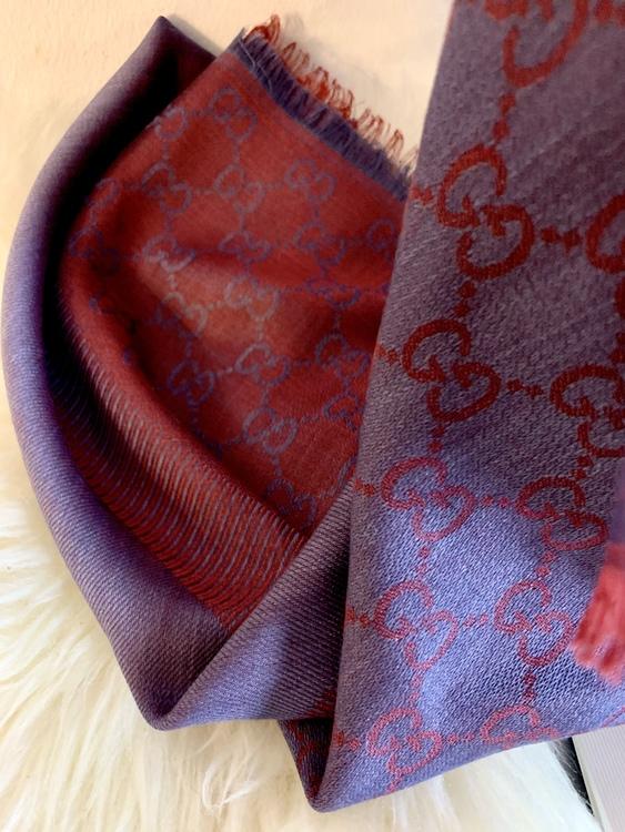 GUCCI scarf shawl GG Guccissima silk wool