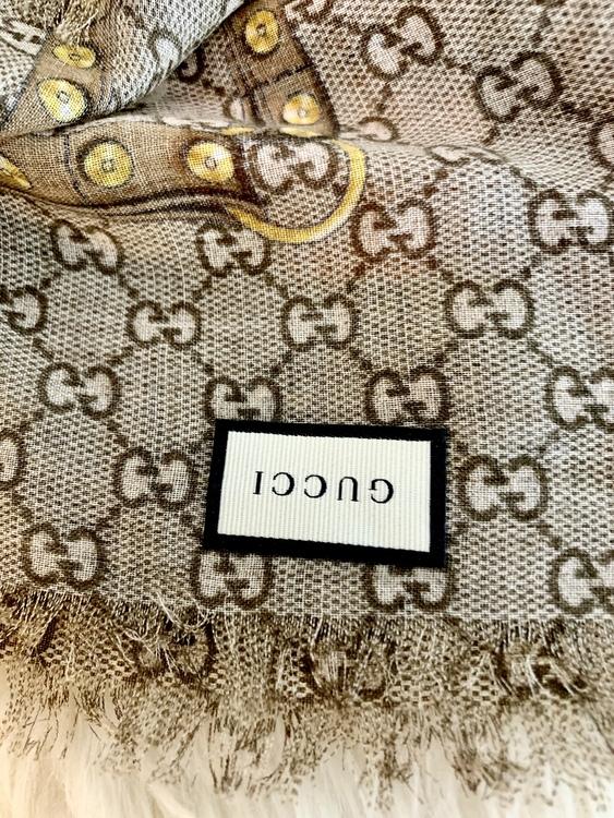 Gucci Monogram And Oshibana Flowers Wool Shawl Scarf