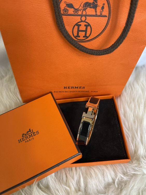Hermes Click H Narrow Enamel Black Rose Gold Hardware Bracelet